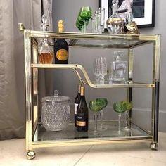 Vintage Drinks Trolley, Bar Trolley, Brass Bar Cart, Gold Bar Cart, Unique Furniture, Furniture Making, Luxury Furniture, Bar Cart Styling, Bar Cart Decor