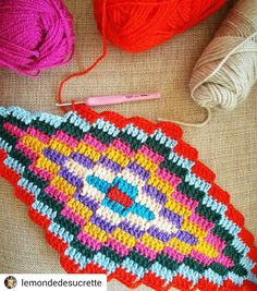 nd lozenge on the hook 😍 Wishing you a lovely day 😍 bohemianblanket progressing sucrettesbohemianblanket inlove loveit happy Crochet Squares, Crochet Blanket Patterns, Crochet Motif, Diy Crochet, Crochet Designs, Crochet Crafts, Crochet Stitches, Crochet Projects, Stitch Patterns