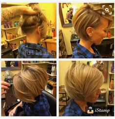 Looking for a latest short bob hairstyles? In this post you will find best images of 2015 - 2016 Short Bob Hairstyles that you will immediately adore! Short Bob Hairstyles, Pretty Hairstyles, Short Bob With Undercut, Hairstyle Short, Undercut Bob Haircut, Nape Undercut, Shaved Undercut, Hairstyle Ideas, Medium Hair Styles