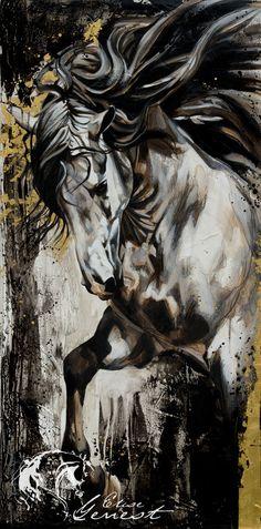 Toiles passées - past paintings — Elise Genest Pretty Horses, Beautiful Horses, Watercolor Horse, Horse Artwork, Horse Face, Painted Pony, Horse Drawings, White Horses, Equine Art