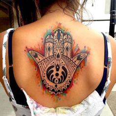 This Hamsa tattoo was inked by Lauren Toohey. #InkedMagazine #spiritual #tattoo #tattoos #Inked #art