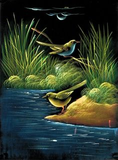 God's Creation - Paintings on Velvet (Painting on Velvet Cloth - Unframed) Bird Painting Acrylic, Canvas Painting Landscape, Watercolor Landscape, Beautiful Landscape Wallpaper, Nature Wallpaper, Pictures To Paint, Nature Pictures, Velvet Painting, Art Drawings For Kids
