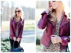Red Leather & Leopard: burgundy leather moto jacket, leopard blouse, mixed metal necklace