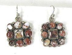 NOS Jasper Cluster Wire Earrings E528