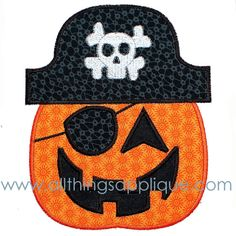 Pirate Pumpkin Applique - 3 Sizes - Halloween Applique Design - INSTANT DOWNLOAD on Etsy, $4.00