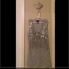 Sequin Tank Top Grey and silver sequin tank top never worn just sitting in closet taking up space NWOT Wet Seal Tops Tank Tops