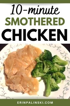 Smothered chicken with gravy makes for an easy healthy family dinner! Using store-bought gravy and thin sliced chicken makes this meal come together in under 15 minutes. You'll love this easy chicken recipe.