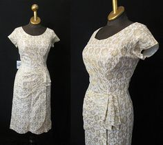 "1950's Floral Gold Lurex Cream Dress by ""Belmont Fashions"""