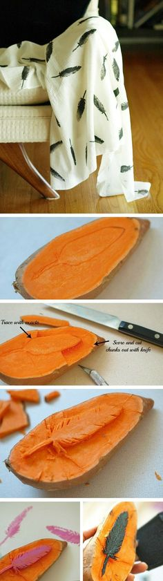 Diy Crafts Ideas : DIY Feather Throw Blanket  using potato stamp.