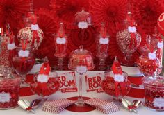 Red Candy Buffet Bar by Susan John Red Candy Bars, Red Candy Buffet, Red Buffet, Lolly Buffet, Dessert Buffet Table, Candy Buffet Tables, Buffet Ideas, Minnie Mouse Rosa, Wedding Candy Table