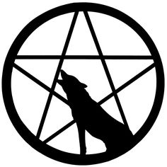 """I like the idea of adding the """"lone wolf"""" into the Pentacle -- there's no moon in this image but that goes along with my idea for the tattoo I want with this symbol, though it might also be cool to just have a wolf silhouette..?  """"Wolf howling at Pentacle moon by whisperelmwood on DeviantArt"""""""