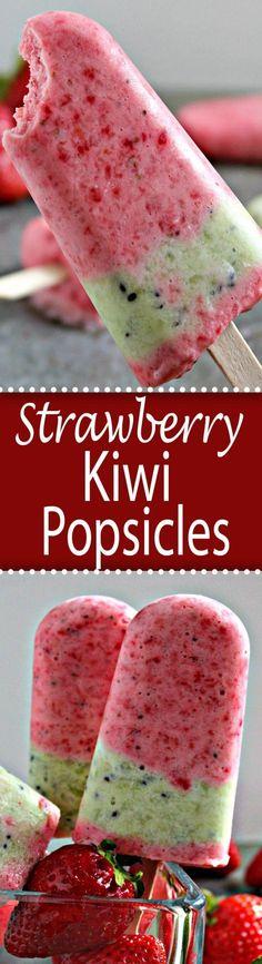 Strawberry Kiwi Popsicles made with fresh fruit and yogurt. (healthy smoothie recipes with kiwi) Healthy Treats, Healthy Desserts, Easy Desserts, Delicious Desserts, Dessert Recipes, Scd Recipes, Healthy Recipes, Eating Healthy, Free Recipes