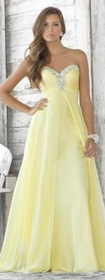 Yellow Chiffon Rhinestone Strapless Sweetheart Prom Dress