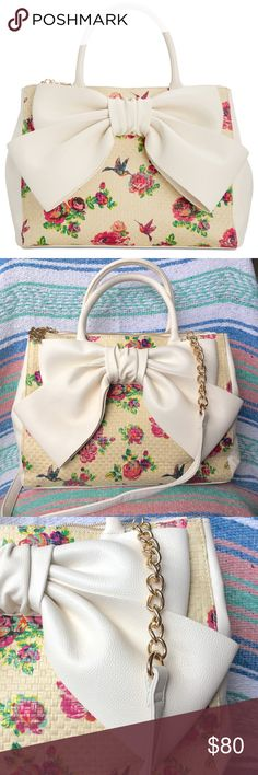 Betsey Johnson Large Bow Satchel💕Macy's Exclusive Betsey Johnson Large Bow Satchel Bag. Macy's Exclusive, 5 Star Rating! Cream Colored with Floral & hummingbird accents. Large cream Bow on the exterior, lined interior. Magnetic snap closure, 1 interior slip pocket & 1 zip pocket. Additional details & measurements pictured. Brand new with Macy's tag, Retail Value $100 Betsey Johnson Bags Satchels