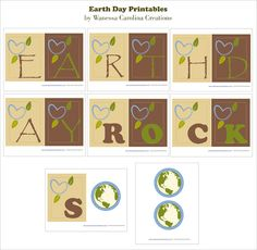 "FREE PRINTABLES ""Earth Day Rocks"" Banner, cupcake toppers and Party sign #earthday"
