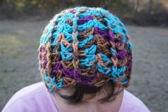 Crochet Soft Shell Lacy and Ribbed Beanie Hat in Teal and Autumn Multicolors - pinned by pin4etsy.com