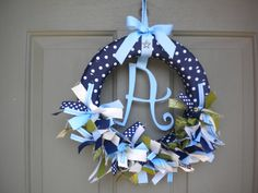 Baby Boy Ribbon Wreath in Blues & Greens for Hospital Door Hanger, baby shower, birthday party. $46.00, via Etsy.