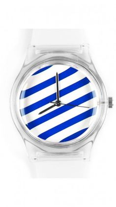 Stripes on your wrist with this stylish blue and white watch. Has a nautical feel that's perfect for summer.