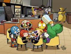 Baby Avengers, lmao they are eating shawarma.