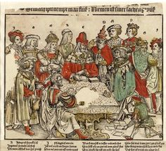 """woodcut political cartoon entitled (title ropped) """"Kurtzlich mit der Eidgnoschafft"""", Zurich impression [different dialect from the impression in Gotha] -- this is c.1514, printed in Zurich by Ruegger [image via Wikimedia <ZCB] -- the French language version copies this. The crowned heads of Europe [Henry VIII second from right!], Pope, etc watch the political game of cards. -- evidently the source of the Danish wall-painting a decade or so later"""