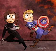 Captain America and Winter Soldier. Can't wait to see them fighting as bros! xD