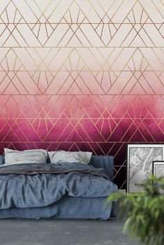 Pink Ombre Triangles Wall Mural - Wallpaper