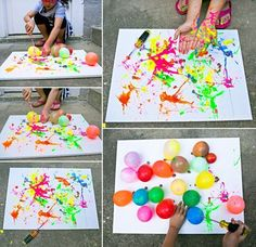 hello, Wonderful - BALLOON SPLATTER PAINTING WITH TOOLS: FUN OUTDOOR ART PROJECT FOR KIDS Kids Crafts, Summer Crafts, Toddler Crafts, Diy And Crafts, Arts And Crafts, Creative Crafts, Stick Crafts, Simple Crafts, Toddler Art