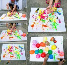 hello, Wonderful - BALLOON SPLATTER PAINTING WITH TOOLS: FUN OUTDOOR ART PROJECT FOR KIDS Kids Crafts, Summer Crafts, Toddler Crafts, Arts And Crafts, Kids Diy, Easter Crafts, Decor Crafts, Holiday Crafts, Bubble Art