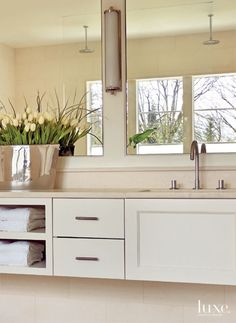 Contemporary Cream Bathroom Detail with Floating Vanity