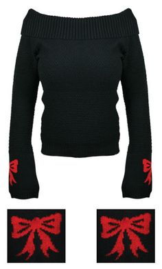 Black & Red Bow Down Wide Cowl Neck Sweater by Lucky 13