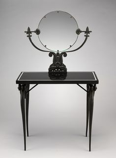 Dressing table, ca. 1925  Armand-Albert Rateau (French, 1882–1938)  Bronze, basalt, mirror glass