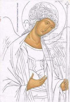 Angel icon in process Religious Images, Religious Icons, Religious Art, Byzantine Icons, Byzantine Art, Angel Drawing, Angel Sketch, Religious Paintings, Cartoon Sketches