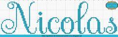 Gráficos de Nomes em Ponto Cruz: Nome Nicolas em Ponto Cruz