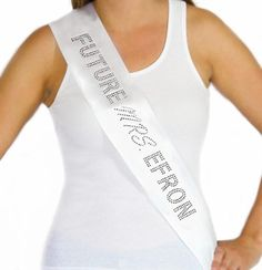 """The """"Future Mrs."""" Custom Rhinestone Sash is the ultimate in Bachelorette Party Gifts for the Bride to be!  This sash is real satin with lot's of real rhinestones & is Personalized with the Brides new last name - SALE $24.99!  Available in 5 colors, this sash ships within 1 business day only at www.TheHouseofBachelorette.com --The Ultimate Bachelorette Party Supplies Store #BacheloretteParty"""