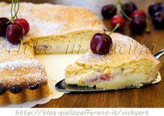 Crostata morbida alle ciliegie e mascarpone, dolce da colazione o merenda, ricetta facile, torta ripiena, crema al mascarpone e ricotta, dolce con ciliegie