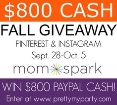 Fall is here! Let's celebrate with a $800 Cash Fall Giveaway. #Giveaway