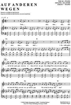>>> KLICK auf die Noten um Reinzuhören <<< Auf anderen Wegen (Klavier + Gesang) von Andreas Bourani für Noten und Playback zum Download für verschiedene Instrumente bei notendownload Blockflöte, Querflöte, Gesang, Keyboard, Klavier, Klarinette, Saxophon, Trompete, Posaune, Violine, Violoncello, E-Bass, und andere ...
