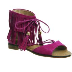 Office Bombshell Fringed Sandals ($64) ❤ liked on Polyvore featuring shoes, sandals, pink suede, women, cuffed sandals, pink suede sandals, pink sandals, fringe shoes and suede lace up shoes
