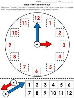 Time: Clock Cut and Paste Activity - Telling Time to the Nearest Hour Kids Math Worksheets, 1st Grade Worksheets, Clock Numbers, Chalkboard Drawings, Numbers Preschool, Preschool Learning Activities, Time Clock, Learning Letters, Cut And Paste