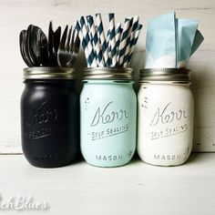 A nice way to keep utensils organized, could also do this for office supplies!  (Dorm Decor - Nautical Navy, Aqua and White Utensil Holders / Painted and Distressed Shabby Chic Mason Jars / Vase)