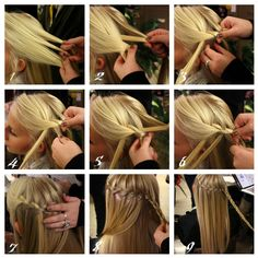 waterfall braid must get my mom to learn to do this ! Would love my hair like it and then curled for grad