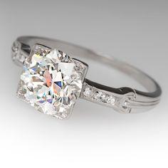 2.24 Carat Old European Cut Diamond Antique Engagement Ring Circa 1920