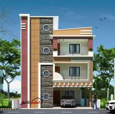 house design photos small house elevations small house front view designs - Best Home Interior Design 3 Storey House Design, House Roof Design, Single Floor House Design, House Outside Design, Small House Design, Facade House, Front Elevation Designs, House Elevation, Building Elevation