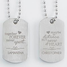 "These are so cute! ""Together forever, never apart ... maybe in distance but never at heart."" - what a beautiful quote! This is such a great gift idea for people in long distance relationships or for couples in the military!"