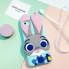 2016 New Arrivals Smart Rabbit Judy Silicon 3D cartoon For Apple iPhone 7 7plus 6 6s 6splus cute phone cases back Cover + Strap