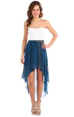 strapless belted chiffon high low casual dress