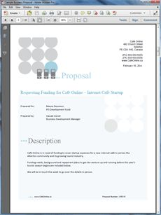 Internet Cafe Startup Funding Sample Business Plan - The Internet Cafe Startup Funding Sample Business Plan is an example of a proposal seeking funding to launch an Internet cafe. Create your own custom proposal using the full version of this completed sample as a guide with any Proposal Pack. Hundreds of visual designs to pick from or brand with your own logo and colors. Available only from ProposalKit.com (come over, see this sample and Like our Facebook page to get a 20% discount)
