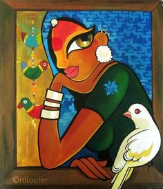 The View - Acrylics on Canvas Niloufer Wadia Indian Art
