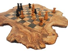 rustic wood gifts homemade | Handmade Rustic Olive Wood Large Chess Set Board / Dad Gift ...