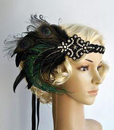 Black star Dream head dress, Peacock Headband, The Great Gatsby headpiece,1920s Flapper Feather Headband,1930's, Feather, Art Deco headband